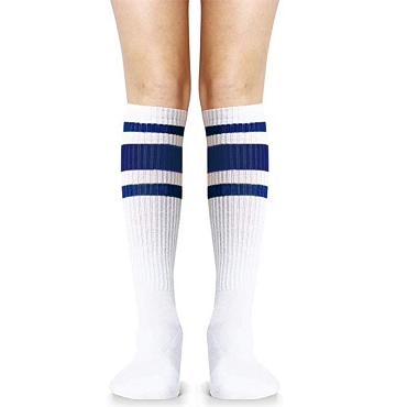 White with Blue Stripes Knee High Socks