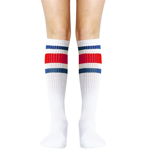 White with Blue and Red Stripe Knee High Socks