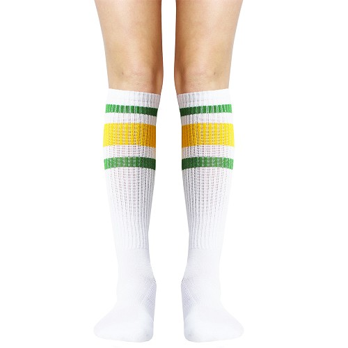 White with Green and Yellow Stripe Knee High Socks
